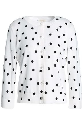 KATE SPADE New York Embellished polka-dot cotton cardigan