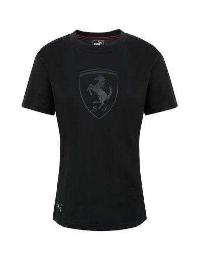 Scuderia Ferrari Online Store - Puma short-sleeve T-shirt with Shield for women - Short Sleeve T-Shirts
