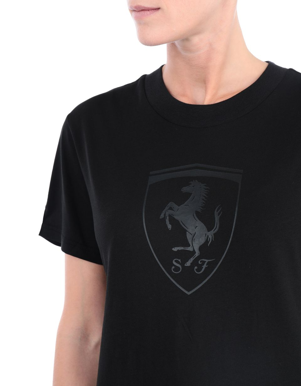 Scuderia Ferrari Online Store - Women's short-sleeve Puma T-shirt with Shield - Short Sleeve T-Shirts