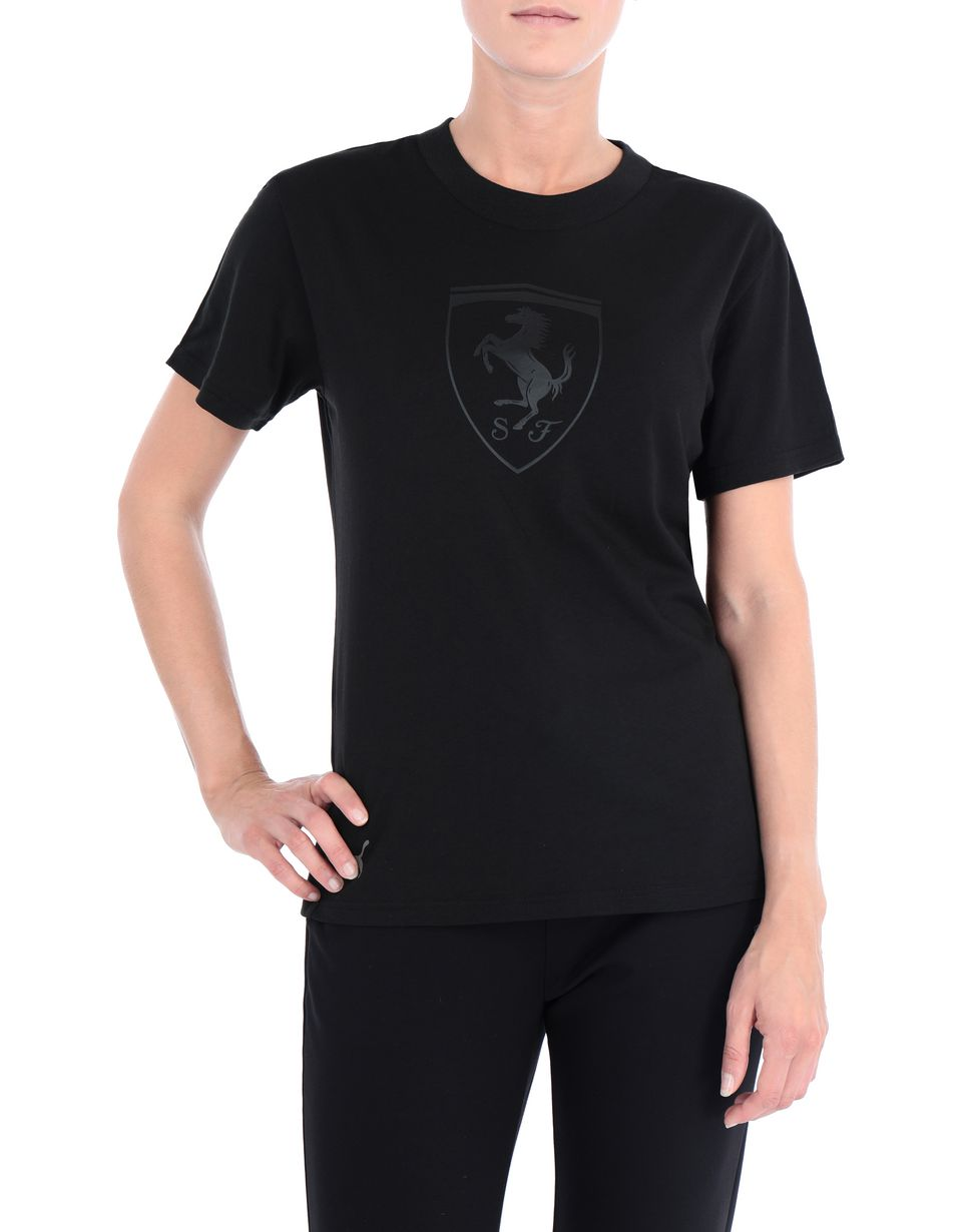 Scuderia Ferrari Online Store - Puma short-sleeve T-shirt with Shield for women - Short Sleeve T-Shirts