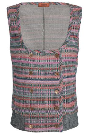 MISSONI Double-breasted metallic crochet-knit vest