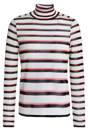 MISSONI Striped crochet-knit turtleneck sweater