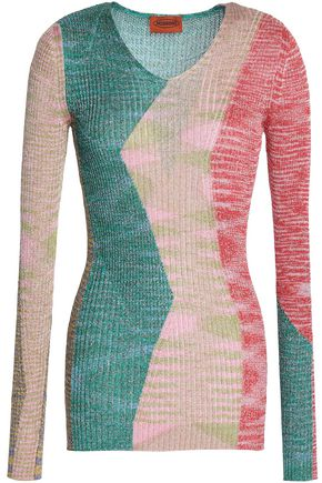 MISSONI Metallic ribbed-knit sweater