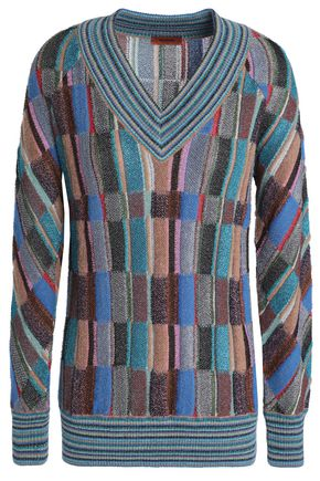 MISSONI Paneled metallic bouclé-knit sweater