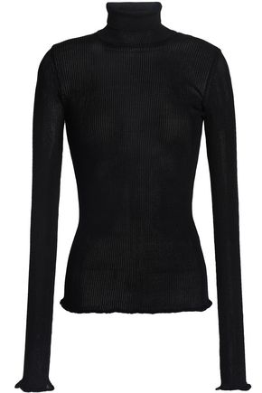MISSONI Ruffle-trimmed ribbed-knit turtleneck top