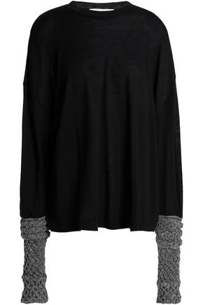 ESTEBAN CORTAZAR Metallic-paneled merino wool, silk and cashmere-blend sweater