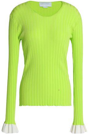 ESTEBAN CORTAZAR Ruffle-trimmed ribbed-knit top