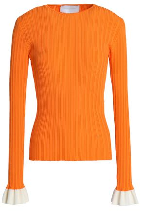 ESTEBAN CORTAZAR Ruffle-trimmed ribbed-knit top