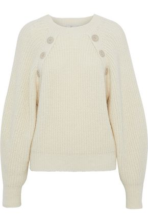 JOIE Aine button-embellished cotton-blend sweater