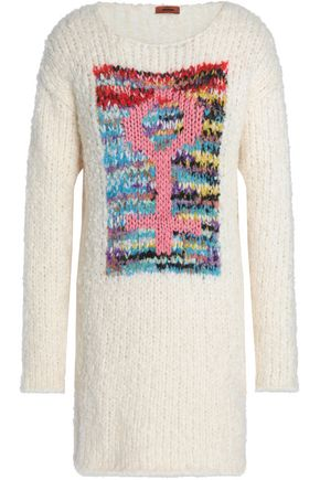 MISSONI Paneled bouclé-knit mini dress
