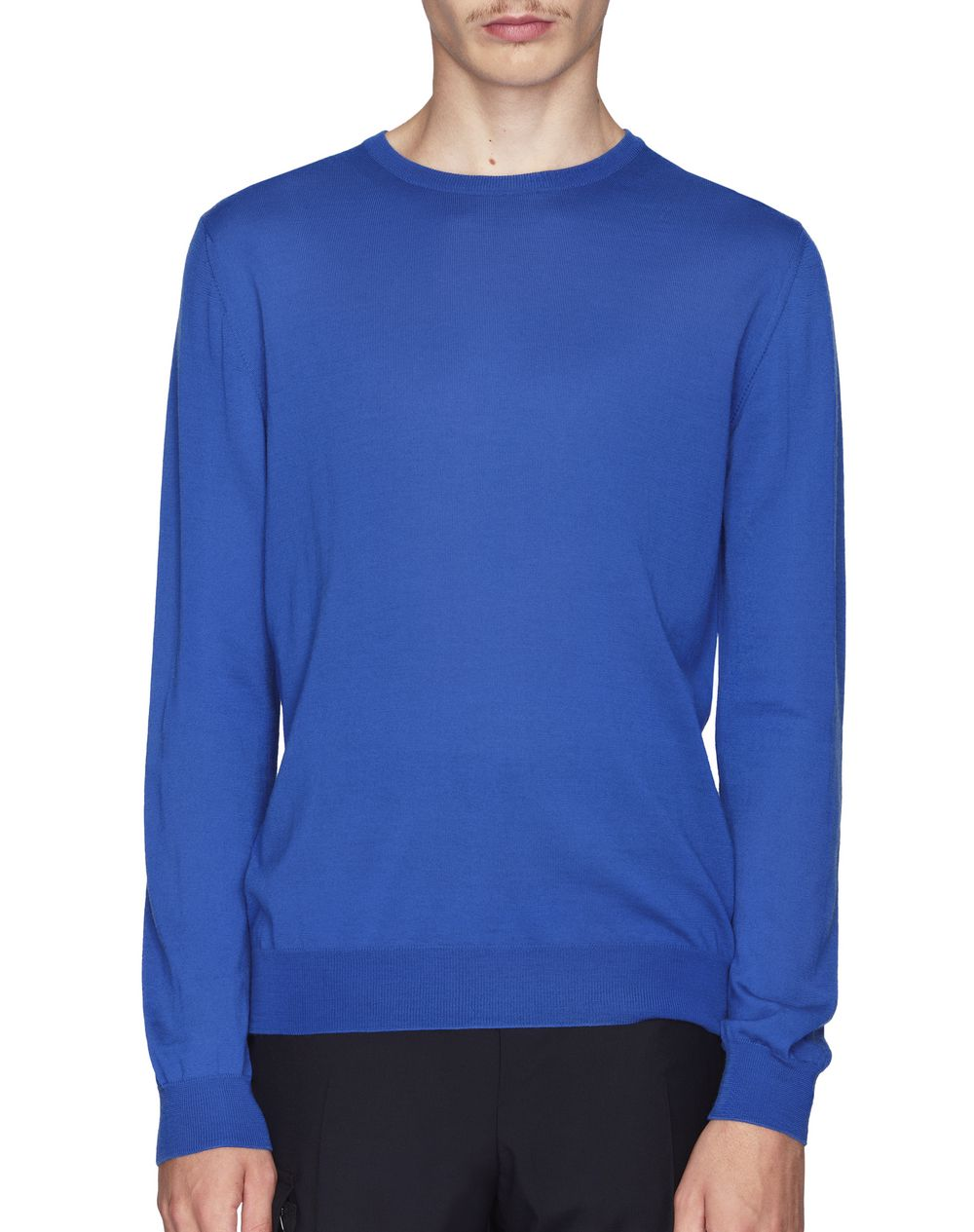 ROUND-NECK LIGHT BLUE WOOL JERSEY SWEATER - Lanvin