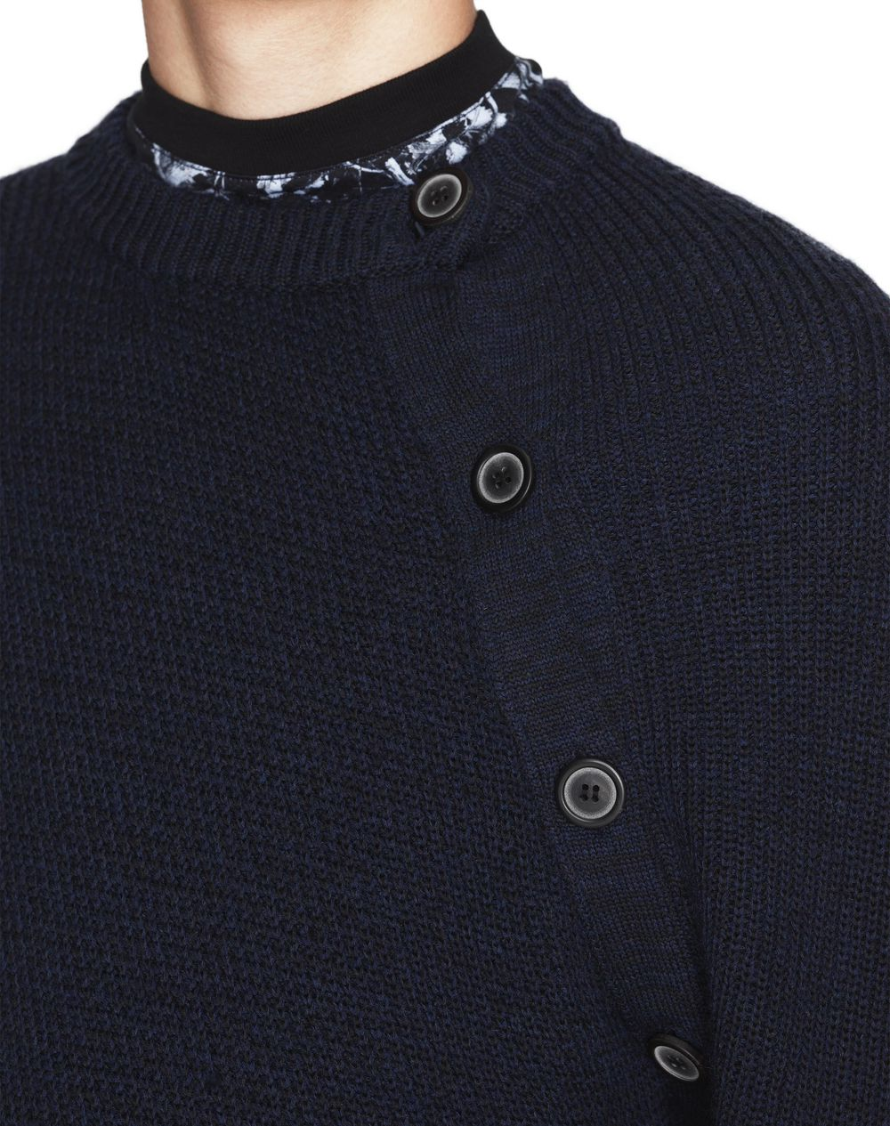 NAVY BLUE BUTTONED COLLAR SWEATER - Lanvin