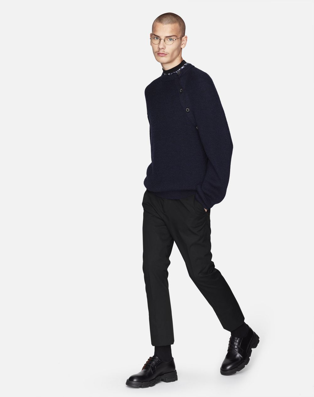 NAVY BLUE BUTTONED NECK SWEATER - Lanvin