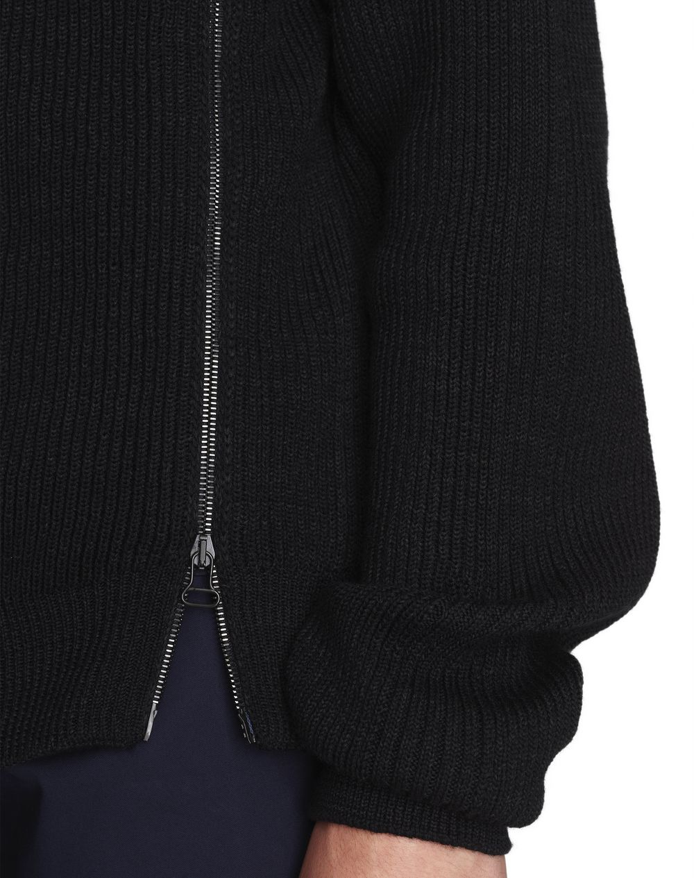 BLACK SWEATER WITH ASYMMETRIC ZIP  - Lanvin