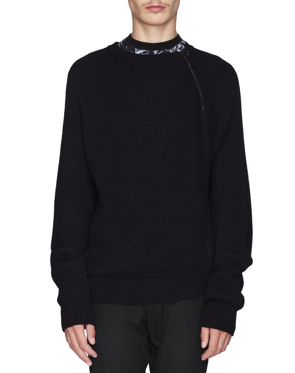 BLACK SWEATER WITH ASYMMETRICAL ZIPPER  - Lanvin