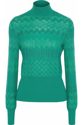 MISSONI Brushed crochet-knit turtleneck sweater