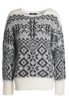 7 FOR ALL MANKIND Jacquard-knit mohair-blend sweater