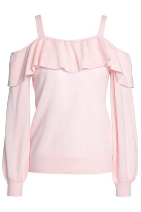 JOIE Delbin cold-shoulder ruffled cashmere sweater