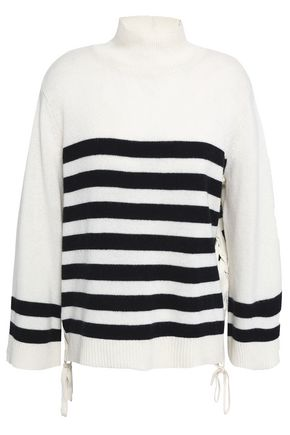 JOIE Lantz lace-up striped wool and cashmere-blend sweater