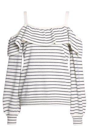 JOIE Delbin B cold-shoulder striped wool and cashmere-blend sweater