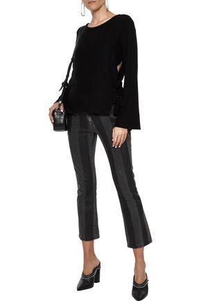 LNA Ezra bow-detailed brushed stretch-Tencel sweater