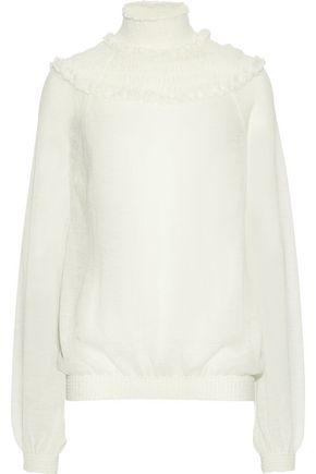 CHLOÉ Shirred crochet-knit sweater