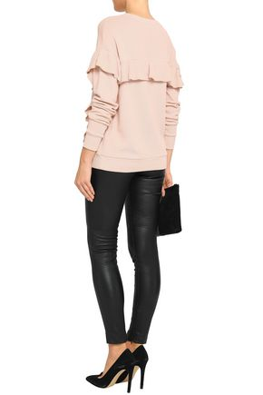 JOIE Ayana ruffle-trimmed French cotton-terry sweatshirt