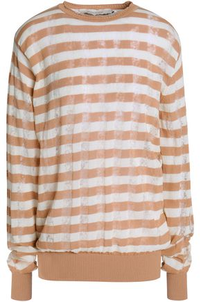 MARQUES' ALMEIDA Striped ribbed-knit cotton-blend sweater