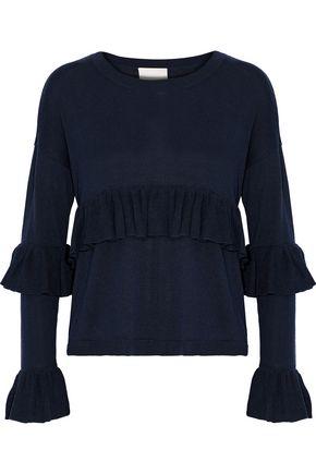 CINQ À SEPT Phillipa ruffle-trimmed silk and cashmere-blend sweater