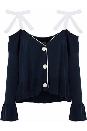 CINQ À SEPT Colby cold-shoulder silk and cashmere-blend cardigan