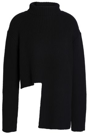 ELLERY Asymmetric ribbed merino wool-blend turtleneck sweater