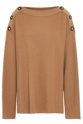 JASON WU Oversized button-embellished ribbed wool sweater