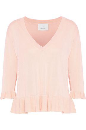 CINQ À SEPT Ariana ruffle-trimmed silk and cashmere-blend sweater