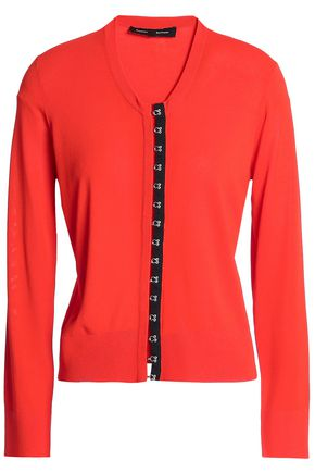 PROENZA SCHOULER Satin-trimmed knitted cardigan