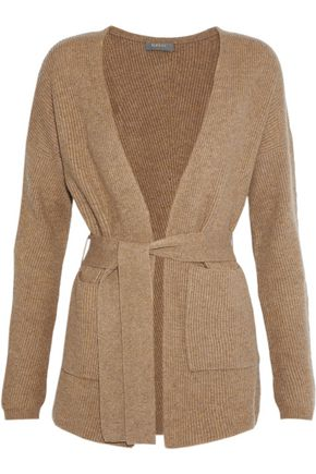 N.PEAL Belted ribbed cashmere cardigan