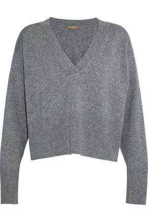 N.PEAL Cropped mélange cashmere sweater