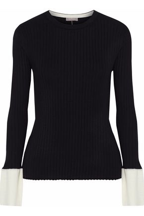 N.PEAL Ribbed cashmere and silk-blend sweater