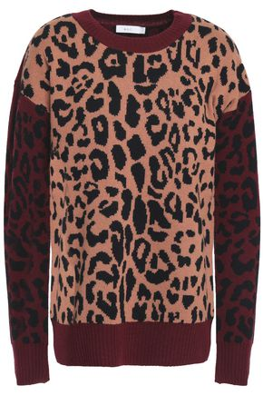 A.L.C. Leopard-print wool and cashmere-blend jacquard sweater
