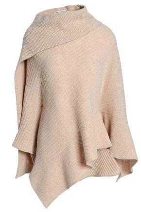 PACO RABANNE Ribbed wool-blend poncho