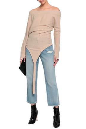 PACO RABANNE Draped ribbed wool-blend top
