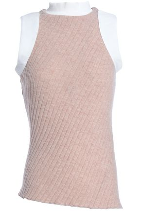 PACO RABANNE Two-tone ribbed-knit wool-blend top