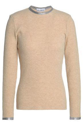 PACO RABANNE Metallic-trimmed ribbed wool-blend sweater