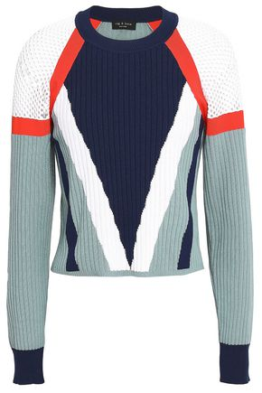 RAG & BONE Color-block ribbed cotton-blend sweater