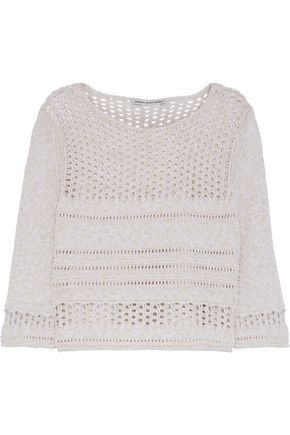 COTTON by AUTUMN CASHMERE Open knit-paneled cotton sweater