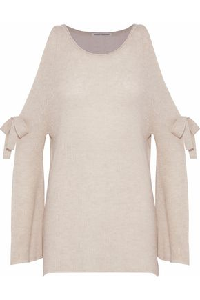 AUTUMN CASHMERE Cold-shoulder bow-detailed cashmere sweater