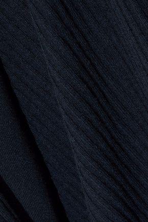 AUTUMN CASHMERE Lace-up ribbed cashmere cardigan