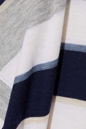 AUTUMN CASHMERE Split-back striped cashmere top
