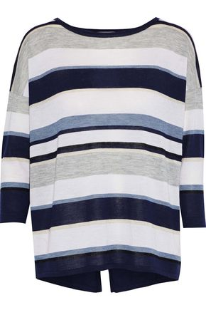AUTUMN CASHMERE Split-back striped cashmere top