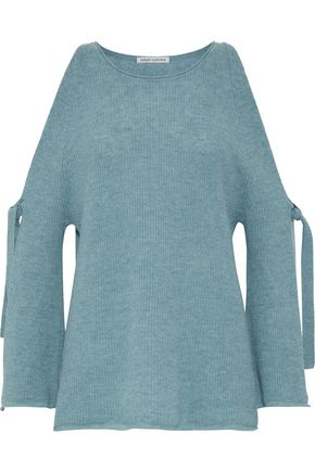 AUTUMN CASHMERE Cold-shoulder mélange cashmere sweater