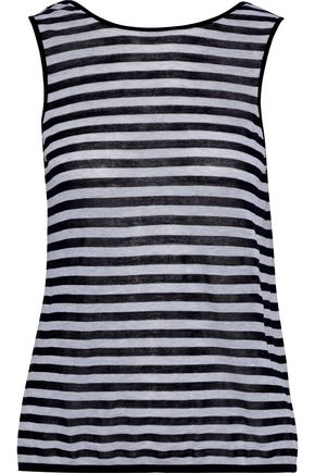 AUTUMN CASHMERE Striped cotton-jersey tank